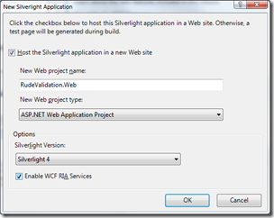 New Silverlight Application dialog - Enable WCF RIA Services