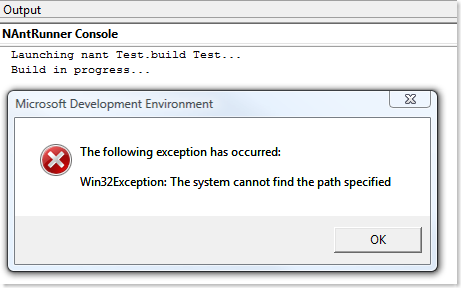 Win32Exception: The system cannot find the path specified